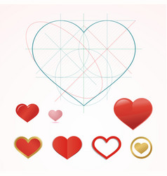 Heart symbol with dimension lines element of vector