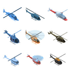 helicopter icon set isometric style vector image