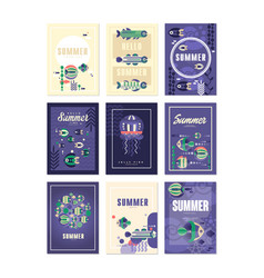 hello summer greeting cards set holidays travel vector image