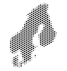 Hex-tile scandinavia map vector
