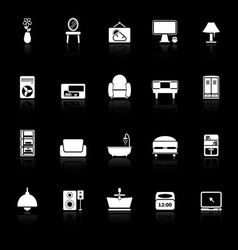 Home furniture icons with reflect on black vector image
