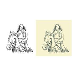 Horsewoman riding a horse vector