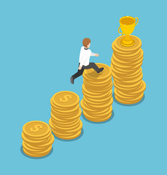 isometric businessman jump to the top of coin vector image