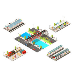 isometric modern trains concept vector image