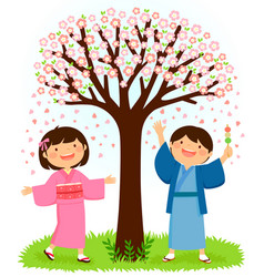 Kids in kimonos standing under a sakura tree vector