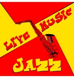 live music saxophone red and yellow vector image