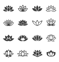 Lotus flowers black glyph and linear icons vector