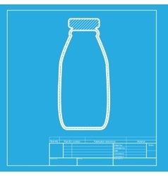 Milk bottle sign White section of icon on vector image