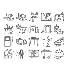 modern line style icons industries construction vector image
