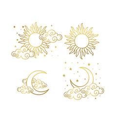 Mystical gold boho style tattoos with sun vector