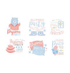 Pajama party invitation card templates set vector