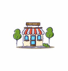pet shop building drawing vector image