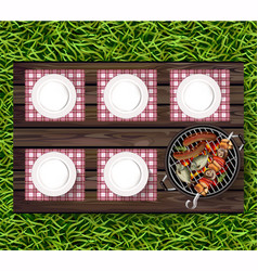 picnic bbq realistic top view plates on vector image