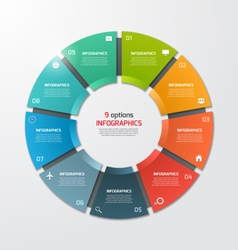 Pie chart infographic template 9 options vector