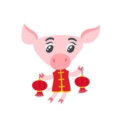 Pig in chinese clothes with isolated on white vector