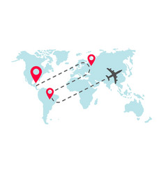 plane global world map flight way path trace vector image