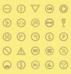 Road sign line color icons on yellow background vector