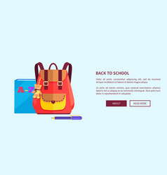 rucksack for girl with cute teddy bear big pocket vector image