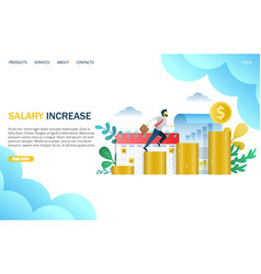 salary increase website landing page design vector image