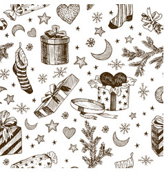 Seamless pattern of christmas gifts for children vector