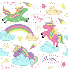 seamless pattern with magic unicorn vector image