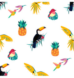 seamless tropical pattern with toucan parrot vector image