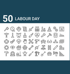 Set 50 labour day icons outline thin line vector