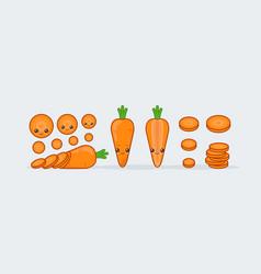 set carrot cute kawaii smiling food vector image