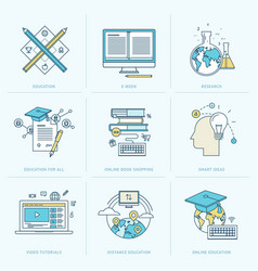 set flat line icons for online education vector image
