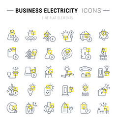 set line icons business electricity vector image