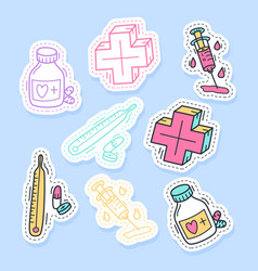 set medicine stickers pins patches vector image