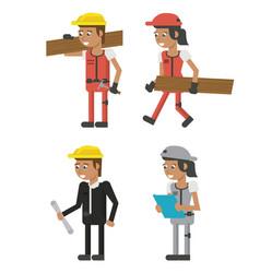 Set of geometric workers cartoons vector