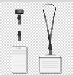 Set of lanyard name tag holder retractor end badge vector image