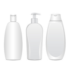 set of realistic white cosmetic bottles tube or vector image