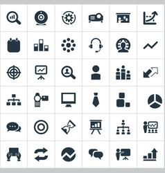 set of simple seminar icons vector image