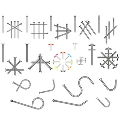 Set of steel nails vector