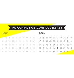 Set of Thin and Bold Contact us Service Elements vector