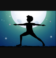 Silhouette man doing yoga on fullmoon night vector