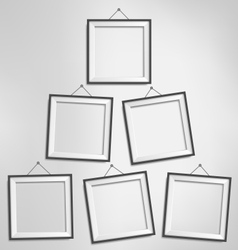 Six black modern blank frames isolated on vector image