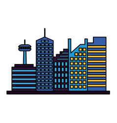 skyscrapers city urban buildings exterior vector image