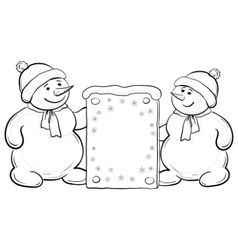 Snowmen boys with sign contours vector