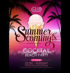 Summer disco poster cocktail beach party vector