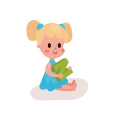 sweet blonde little girl sitting on the floor vector image