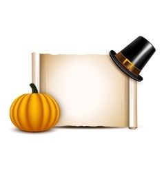 Thanksgiving Parchment with pilgrim hat and vector image