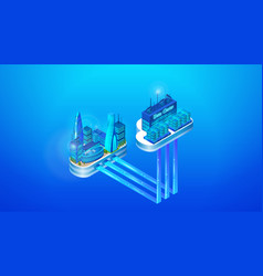 the concept of intelligent smart cloud city vector image