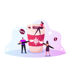 tiny male female characters decorating huge cup of vector image