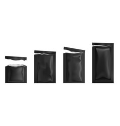 Torn black sachets with wet wipes vector