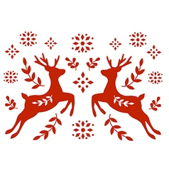 Traditional Deer Folk Motif vector image