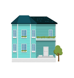 Turquoise color two-story house with balcony vector