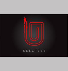 u monogram letter logo design brush paint stroke vector image